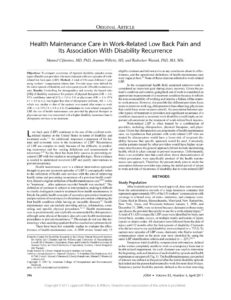 thumbnail of Health-Maintenance-Care-in-Work-Related-Low-Back-Pain